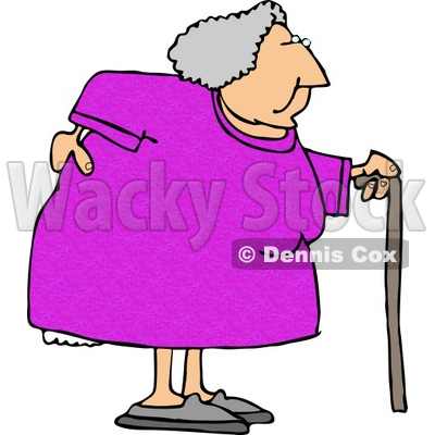5266-obese-elderly-woman-walking-on-a-cane-with-a-painful-back-clipart-by-dennis-cox-at-wackystock